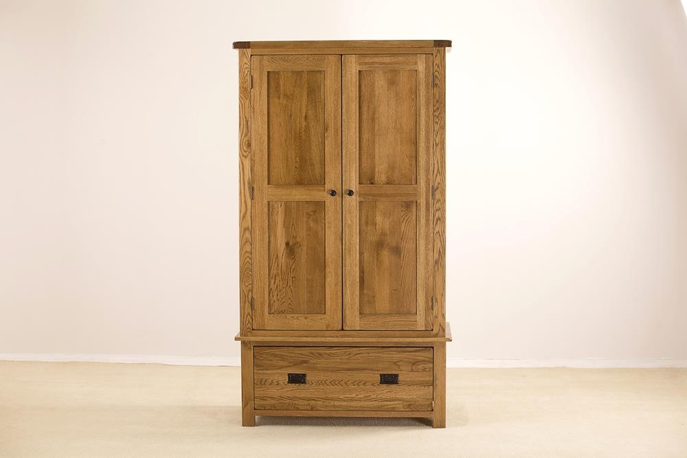 Rustic Solid Oak 2 Door 1 Drawer Double Wardrobe