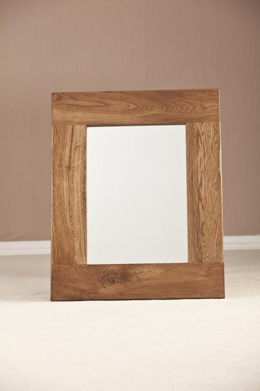 Rustic Oak Rectangular Wall Mirror - 75cm x 60cm