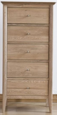 Sorrento Oak Chest of Drawer - 5 Drawer Wellington