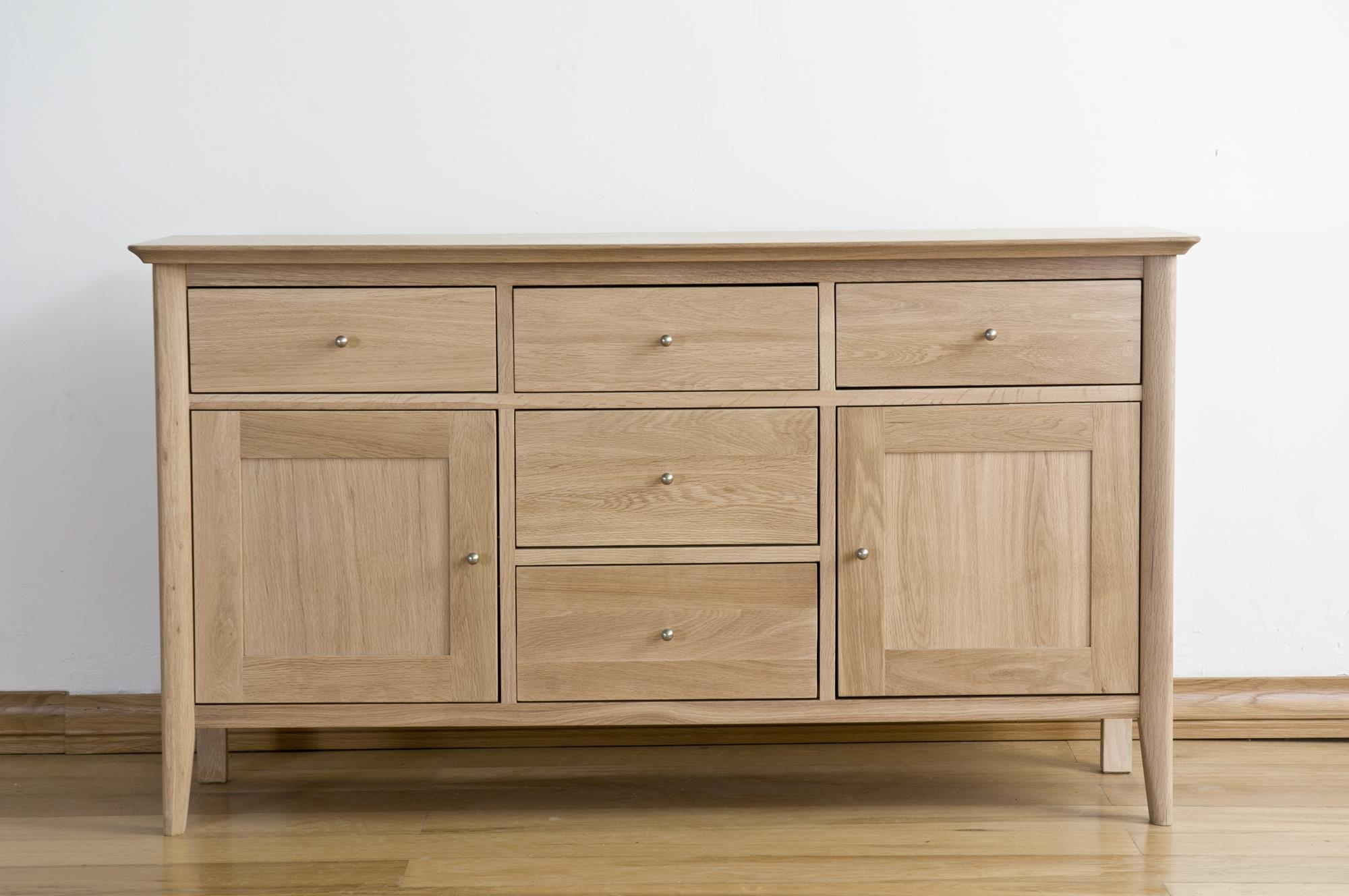 Sorrento Solid Oak Sideboard - Large Medium 2 Door 5 Drawer