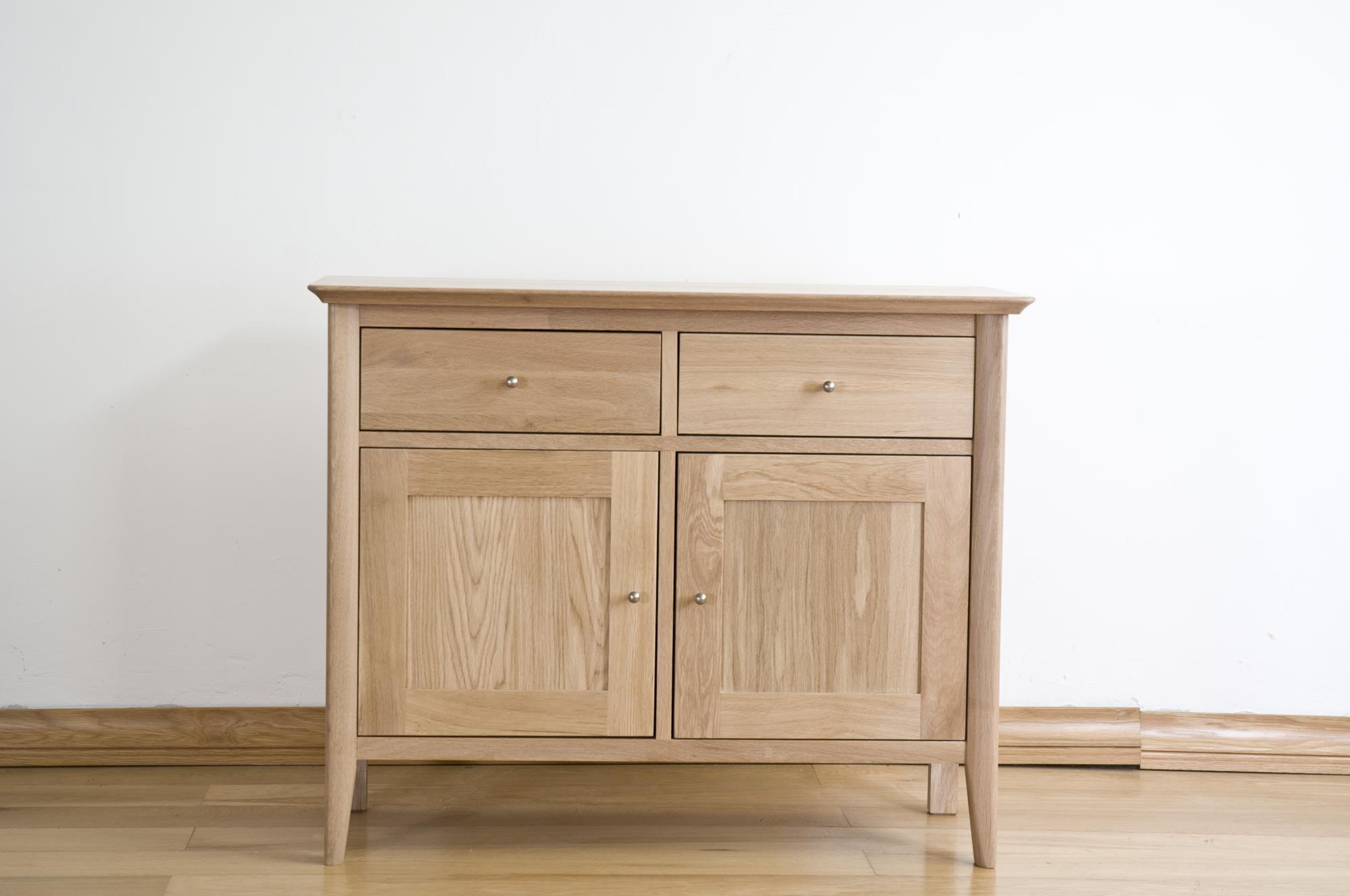 Sorrento Solid Oak Sideboard - Small Narrow 2 Door 2 Drawer