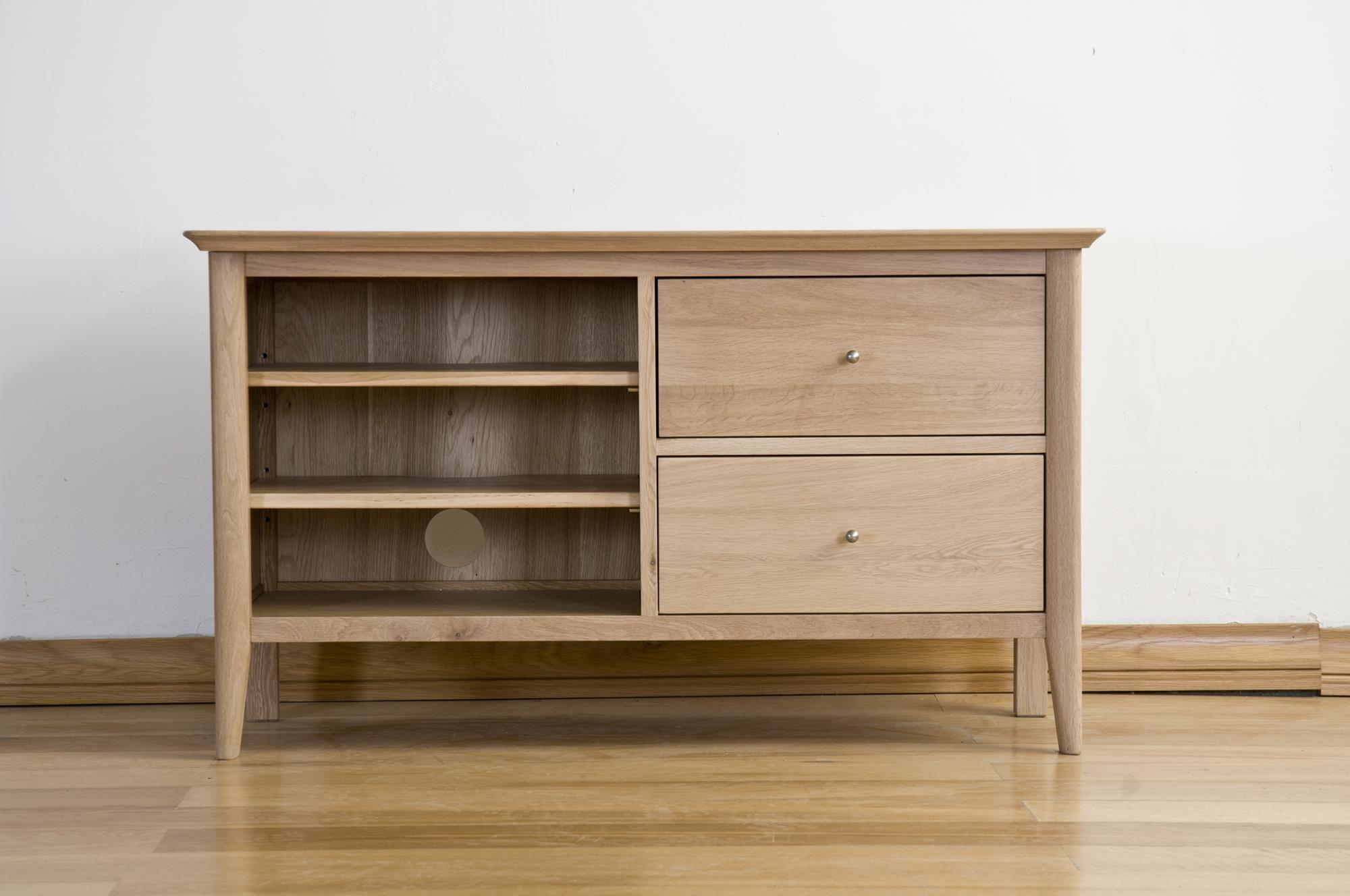 Sorrento Solid Oak Standard TV Cabinet - 2 Drawer