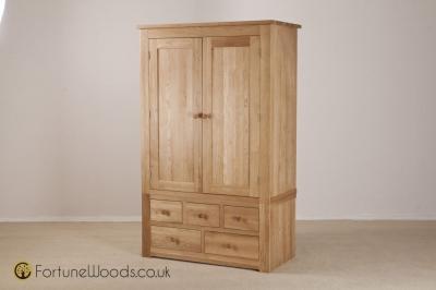 Tavistock Oak Combi Wardrobe - 2 Door 3 Over 2 Drawer