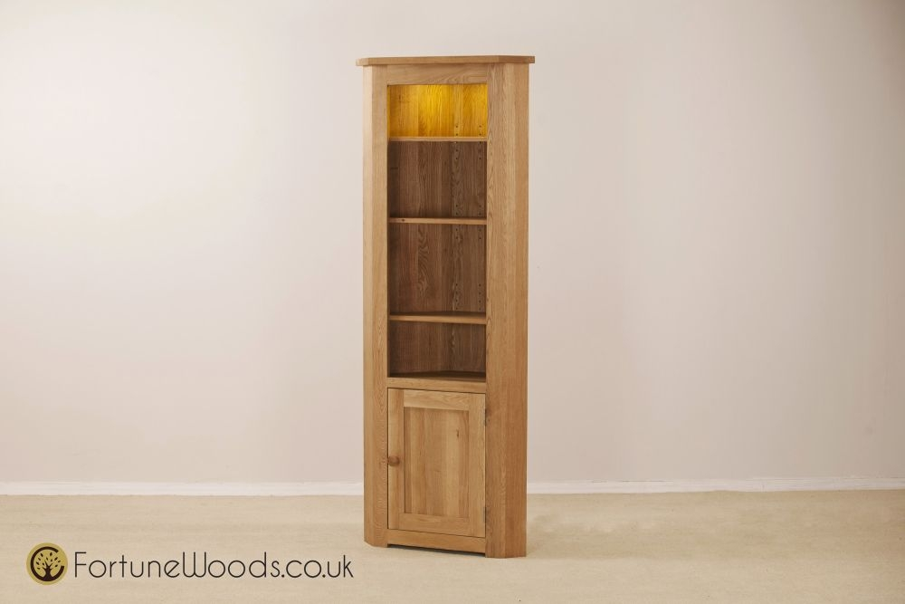 Tavistock Solid Oak Corner Bookcase - 1 Door