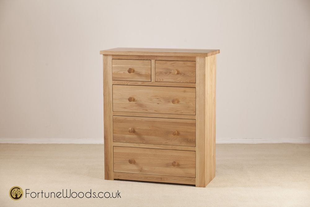 Tavistock Solid Oak Chest of Drawer - 3+2 Drawer