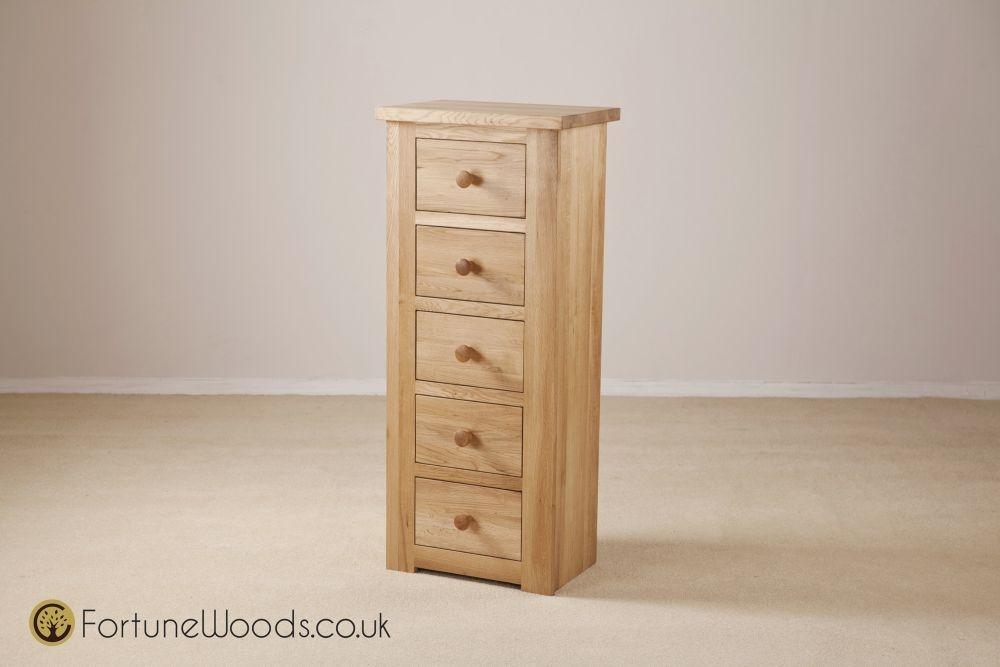Tavistock Solid Oak Wellington Chest of Drawer - 5 Drawer