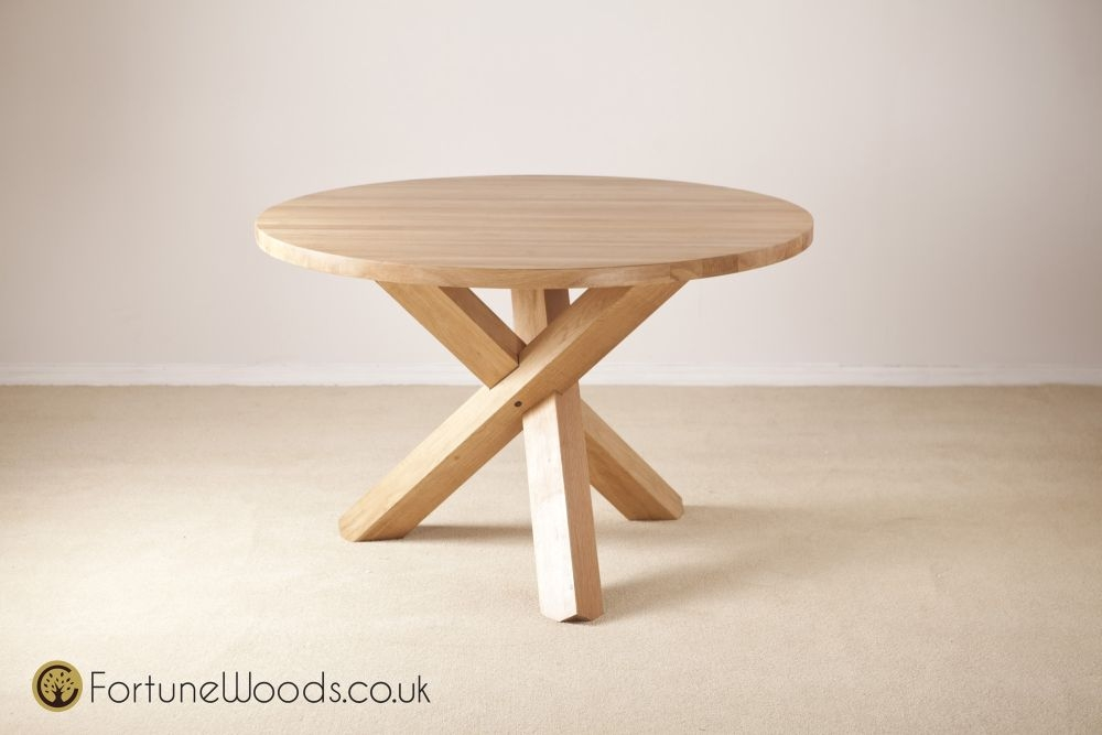 Tavistock Solid Oak Fixed Round Dining Table - 118cm