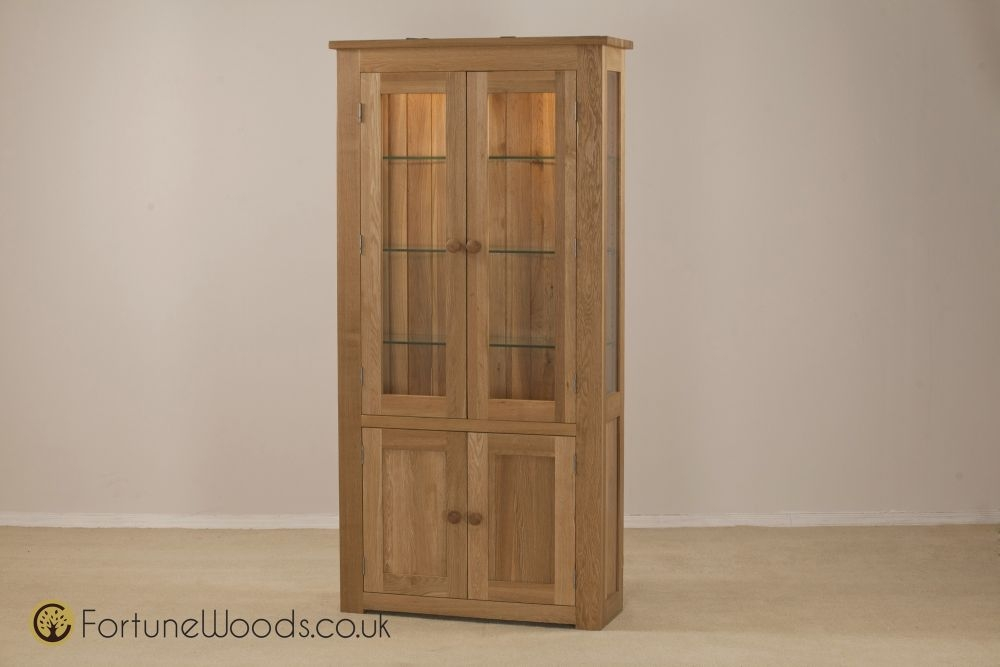 Tavistock Solid Oak 4 Door Glass Display Cabinet