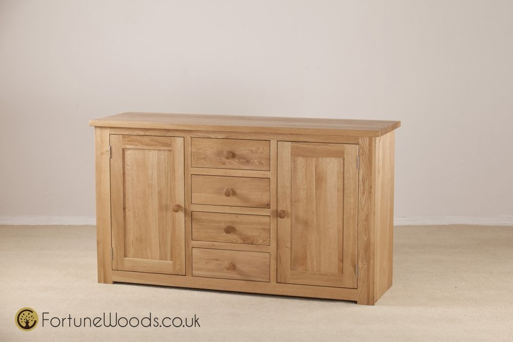 Tavistock Solid Oak Sideboard - Wide 2 Door 4 Drawer