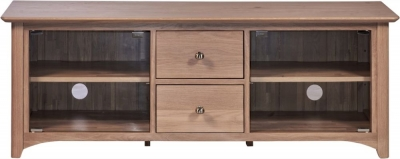 Toulouse Oak Large TV Unit With Glass Doors