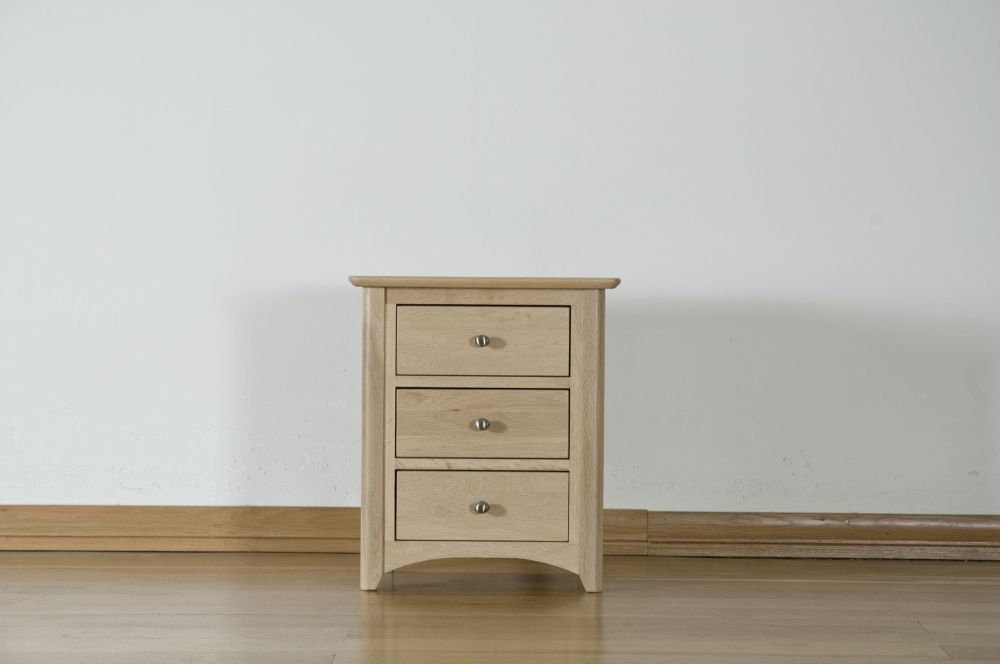 Toulouse Solid Oak Bedside Cabinet - 3 Drawer