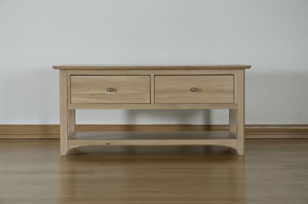 Toulouse Solid Oak Storage Coffee Table - 2 Drawer