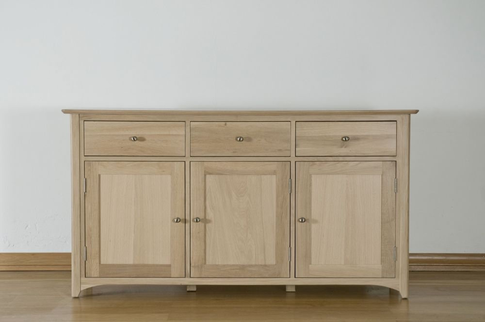 Toulouse Solid Oak Sideboard - Large Wide 3 Door 3 Drawer
