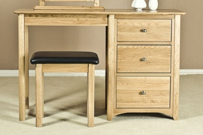 Tuscany Oak Dressing Table - Single Pedestal
