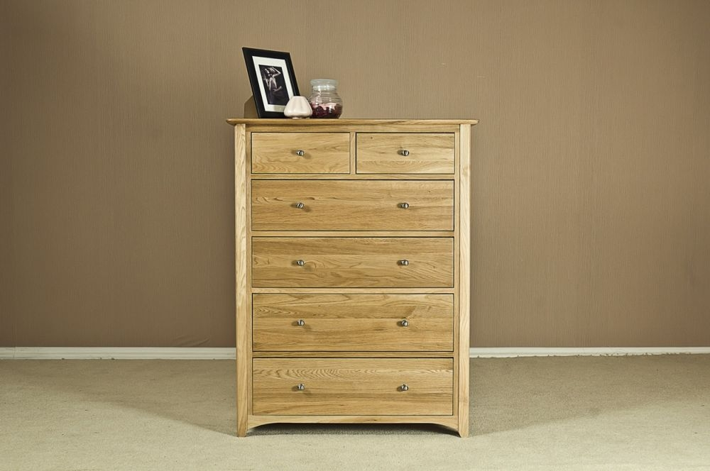 Tuscany Oak Chest of Drawer - 4+2 Drawer