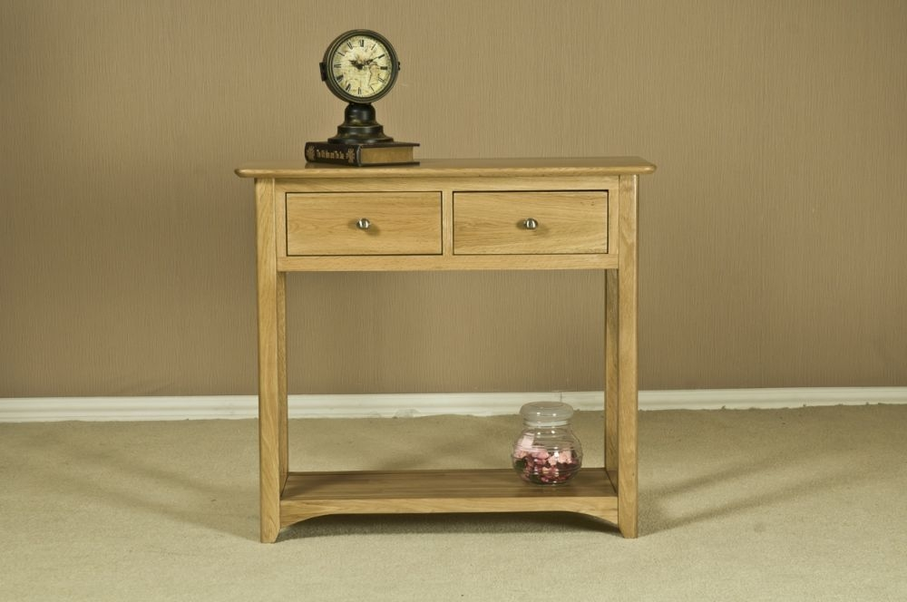 Tuscany Oak Console Table with 2 Drawer