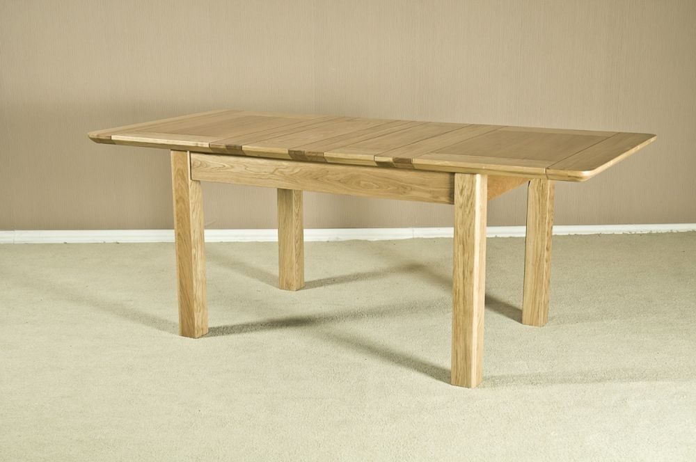 Tuscany Solid Oak Rectangular Extending Dining Table - 132cm-198.4cm