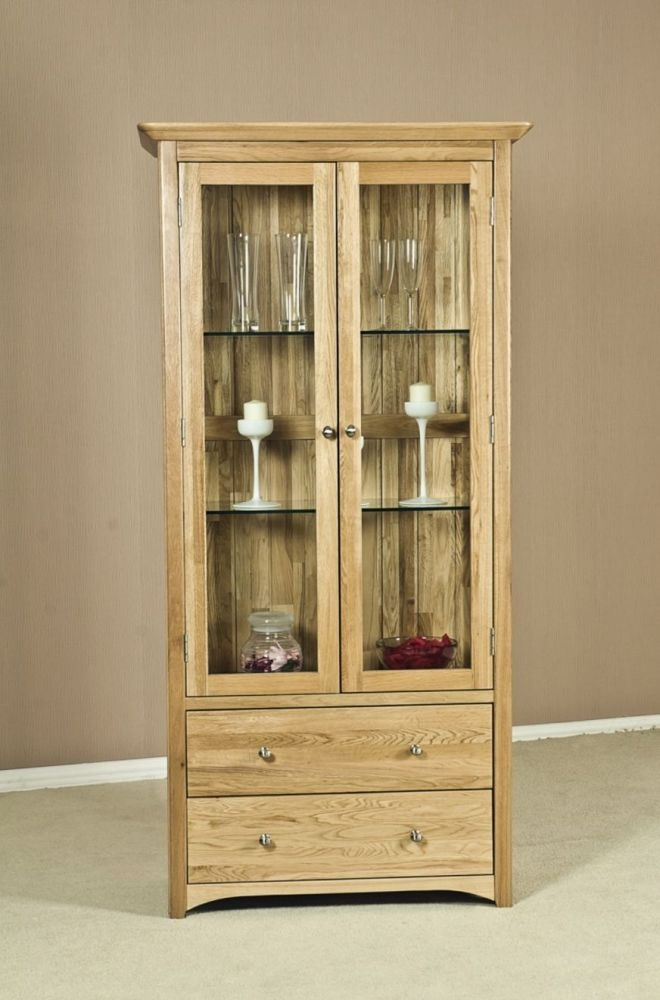 Tuscany Solid Oak 2 Door 2 Drawer Glass Display Cabinet