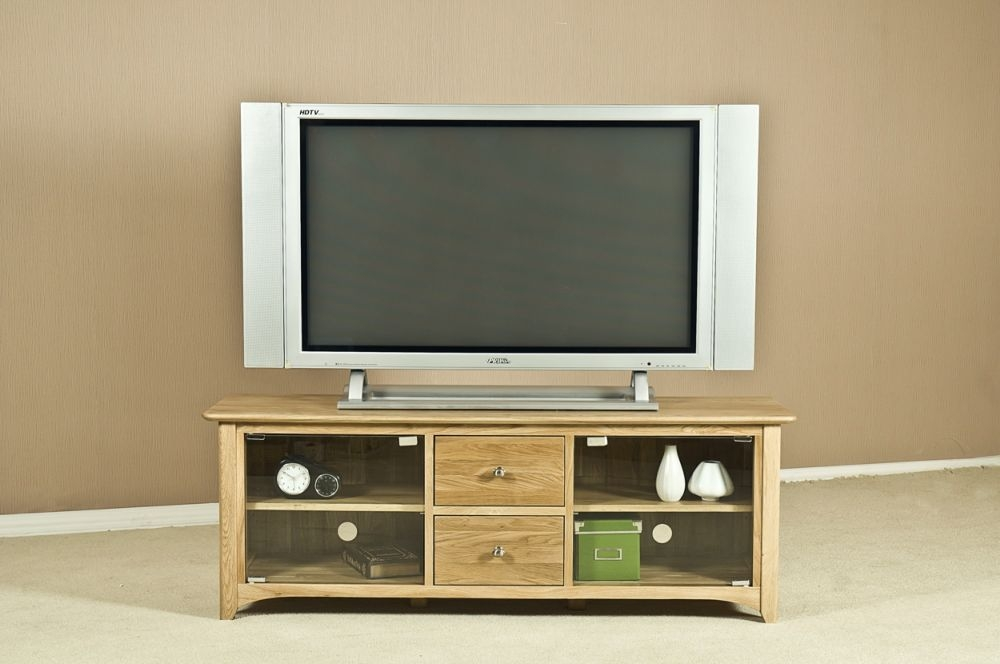 Tuscany Oak TV Unit - Large with Glass Door