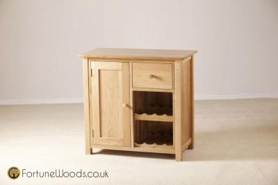 Windsor Oak Wine Cabinet - 1 Door 1 Drawer