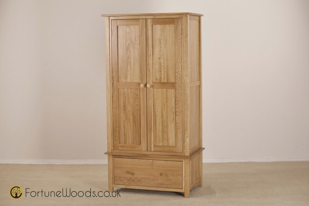 Windsor Oak Wardrobe - 2 Door 1 Drawer Gents