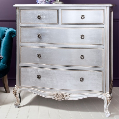 Frank Hudson Alexandria Silver Leaf Chest of Drawer - 5 Drawer