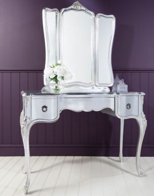 Frank Hudson Alexandria Silver Leaf Dressing Table with Mirror