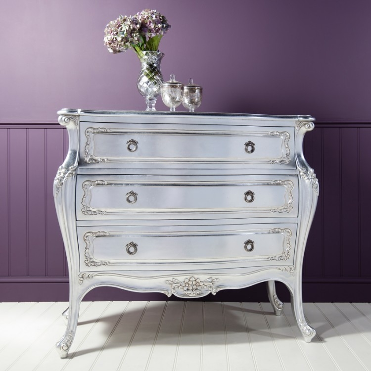 Frank Hudson Alexandria Silver Leaf Bombe Chest of Drawer - 3 Drawer