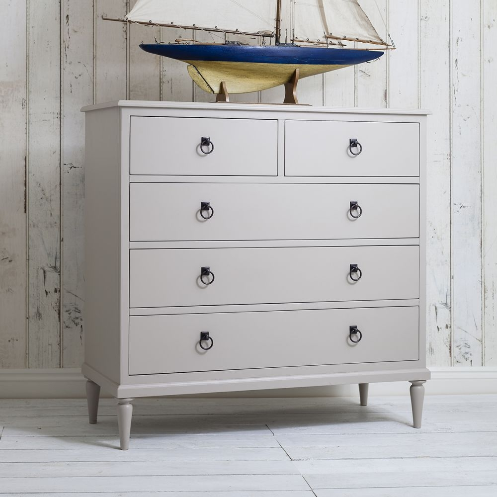 Frank Hudson Annecy Soft Grey Chest of Drawer - 5 Drawer