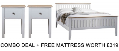 Frank Hudson Banbury Grey 4ft 6in High Foot End Bed Combo with Free Mattress