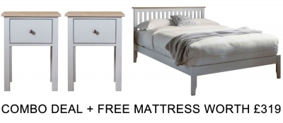 Frank Hudson Banbury Grey 4ft 6in Low Foot End Bed Combo with Free Mattress