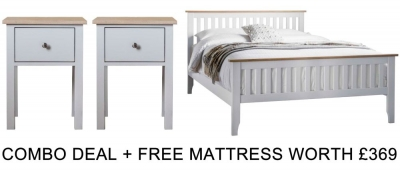 Frank Hudson Banbury Grey 5ft High Foot End Bed Combo with Free Mattress