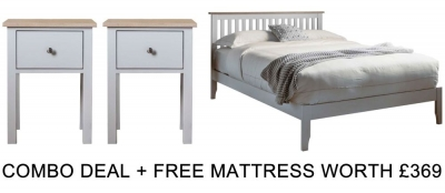Frank Hudson Banbury Grey 5ft Low Foot End Bed Combo with Free Mattress