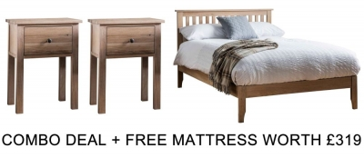 Frank Hudson Banbury Oak 4ft 6in Low Foot End Bed Combo with Free Mattress
