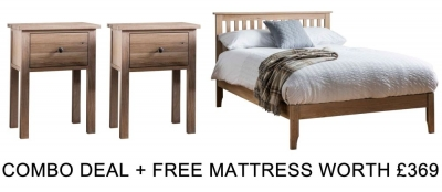 Frank Hudson Banbury Oak 5ft Low Foot End Bed Combo with Free Mattress