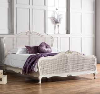 Frank Hudson Chic Chalk with Cane Bed - 5ft King Size