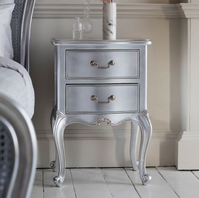 Frank Hudson Chic Bedside Table - Silver