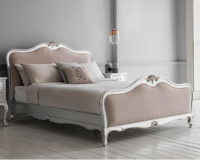 Frank Hudson Chic Silver with Linen Upholstered Bed