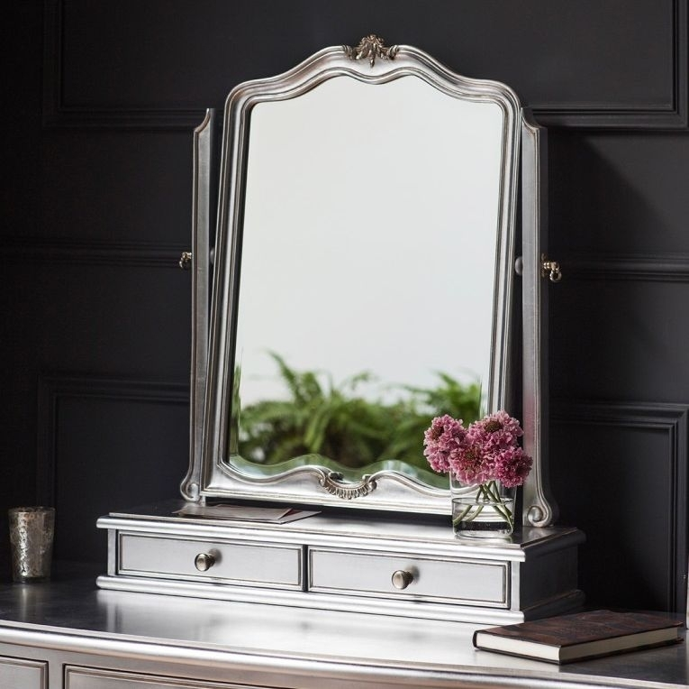 Frank Hudson Chic Arch Dressing Table Mirror - 60cm x 73cm Silver