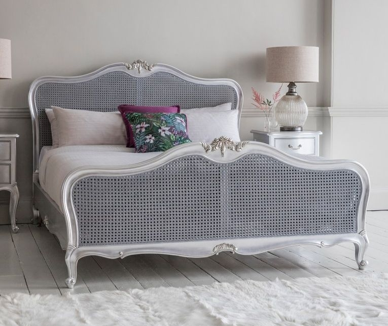 Frank Hudson Chic Silver with Cane 6ft Queen Bed