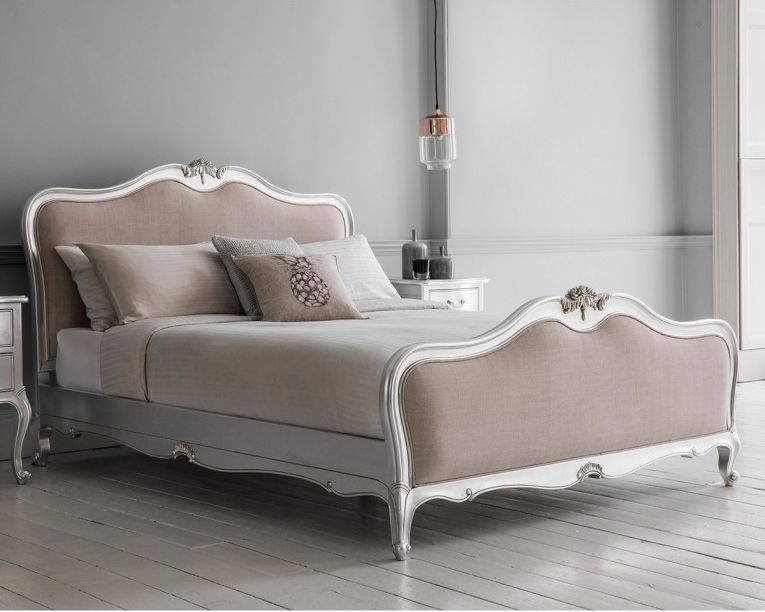 Frank Hudson Chic Silver with Linen Upholstered Bed - 5ft King Size