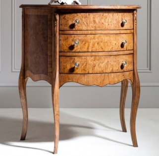 Frank Hudson Collection Des Articles Demi Lune Table with 3 Drawer