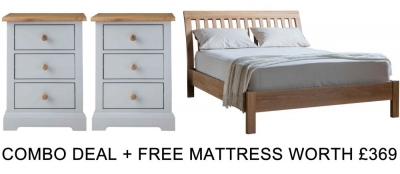 Frank Hudson Marlow Solid Oak 5ft Low Foot End Bed Combo with Free Mattress