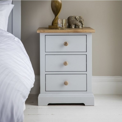 Frank Hudson Marlow Soft Grey Paint Bedside Cabinet - 3 Drawer