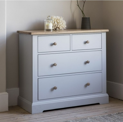 Frank Hudson Marlow Soft Grey Paint Chest of Drawer - 4 Drawer