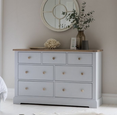 Frank Hudson Marlow Soft Grey Paint Chest of Drawer - 7 Drawer