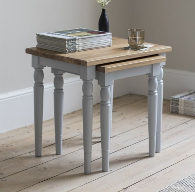 Frank Hudson Marlow Soft Grey Paint Nest of Tables