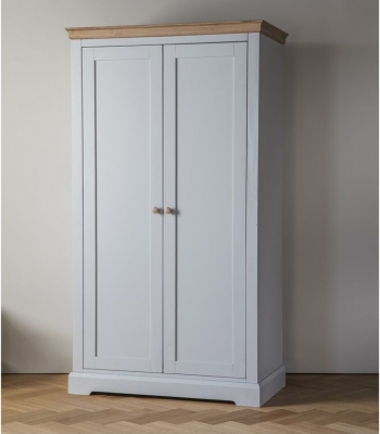 Frank Hudson Marlow Soft Grey Paint Wardrobe - 2 Door