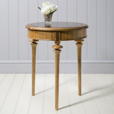 Frank Hudson Spire Circular Table with Smoked Glass Top