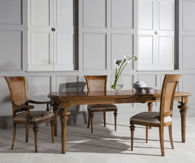 Frank Hudson Spire Rectangular Extending Dining Table with 4 Chairs and 2 Armchairs - Walnut